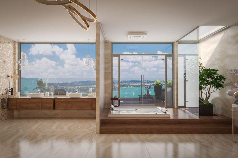 Luxusfürdőszoba-tervek egy balatoni villához